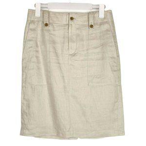J.Crew Linen Khaki Beige Pencil Skirt Pockets 4